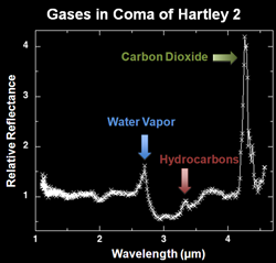 Hartley 2 spectrum: gases in the coma