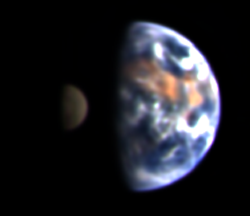 RGB comp of deconvoluted frames of Earth and Moon