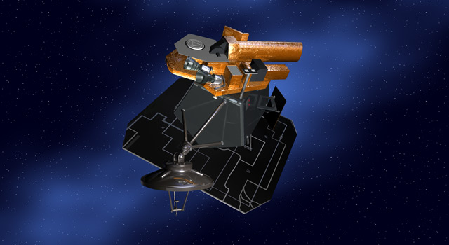 graphic of spacecraft with blue background