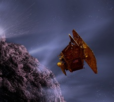 graphic art of flyby spacecraft
