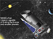 Space background with Kepler spacecraft